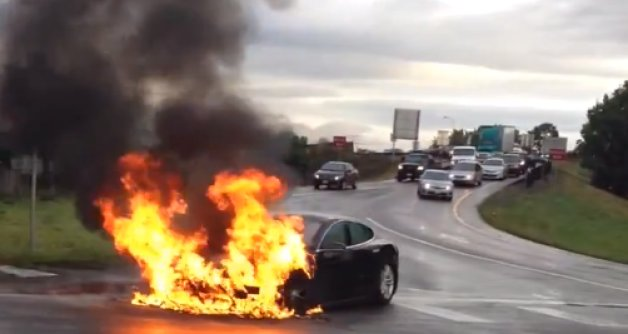 Tesla Car Fire Started in Battery After Crash